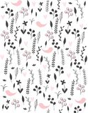 Cute Hand Drawn Abstract Meadow with Birds Vector Pattern. Black Twigs, Flowers and Leaves and Pink Hearts and Birds Among Them. vector illustration
