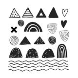 Cute hand drawn abstract shapes for decoration and making patterns in monochrome scandinavian style. Vector illustration Royalty Free Stock Photo