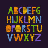 Cute hand drawn alphabet. Cute and colorful childish hand drawn English alphabet, with scratched texture Stock Image