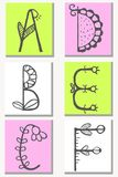 Cute hand drawn alphabet in flower style made in vector. Doodle letters A, B, C, D, E, F for your design. Isolated characters. Handdrawn font Royalty Free Stock Photography