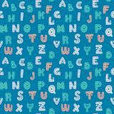 Cute hand drawn alphabet seamless vector pattern. Blue and pink decorative letters background. Sweet texture for prints and textile design Stock Photography