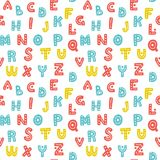 Cute hand drawn alphabet seamless vector pattern. Colorful decorative letters background. Sweet texture for prints and textile design Royalty Free Stock Image