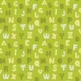 Cute hand drawn alphabet seamless vector pattern. Green decorative letters background. Sweet texture for prints and textile design Stock Photo