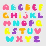 Cute hand drawn alphabet. Vector funny comics font.  Royalty Free Stock Image