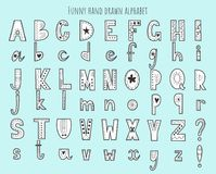 Cute hand drawn alphabet. Vector letters set. Scandinavian style with decorations. Cute hand drawn alphabet. Vector letters set. Scandinavian style with royalty free illustration