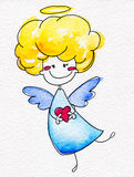 Cute hand-drawn angel with heart in hands Royalty Free Stock Photos