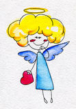Cute hand-drawn angel with heart in hands Stock Image