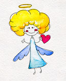 Cute hand-drawn angel with heart in hands Royalty Free Stock Images