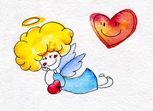 Cute hand-drawn angel with heart in hands Stock Photography