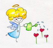 Cute hand-drawn angel watering the flowers Royalty Free Stock Images