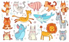 Cute hand drawn animals. Friendship animal funny doodle cat, decorative adorable fox and baby bear isolated vector royalty free illustration
