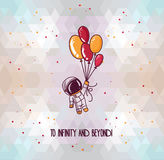 Cute hand drawn astronaut on abstract geometric background Royalty Free Stock Photos