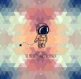 Cute hand drawn astronaut on abstract geometric background Royalty Free Stock Photography