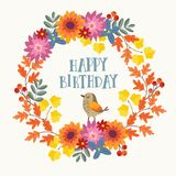 Cute hand drawn autumn birthday greeting card, invitation with bird and wreath made of mums flowers and colorful maple Royalty Free Stock Photography