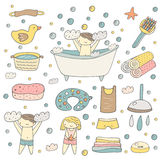 Cute hand drawn baby bathing objects collection Stock Images