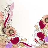 Cute hand drawn background with flowers in pastel colors Royalty Free Stock Photo