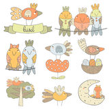 Cute hand drawn birds collection Royalty Free Stock Photo