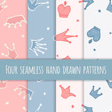 Cute hand drawn blue and pink seamless pattern. Royalty Free Stock Photos