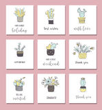 Cute hand drawn cactus cards set Royalty Free Stock Photography