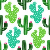 Cute hand drawn cactus seamless pattern. For your decoration vector illustration