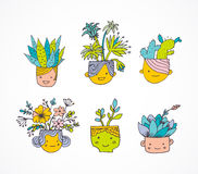 Cute hand drawn cactus set with faces Royalty Free Stock Photo