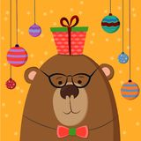 Cute hand drawn card as funny Bear with gift and balls. For kids, winter holidays, birthday, Christmas, New Year vector illustration