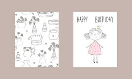 Cute hand drawn card with cute little girl. Printable template.  Stock Images