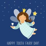Cute hand drawn card with funny smiling cartoon character of tooth fairy Stock Image