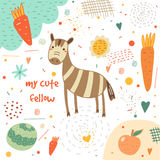 Cute hand drawn card, postcard with zebra Royalty Free Stock Photo