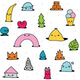 Cute hand drawn cartoon pattern Royalty Free Stock Image