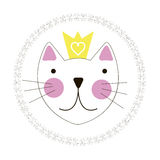 Cute Hand Drawn Cat with Crown Background Stock Photo