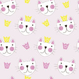 Cute Hand Drawn Cat with Crown Seamless Pattern Background Stock Images