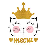 Cute Hand Drawn Cat Vector Illustration. Little Princess with Cr Stock Images