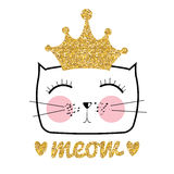Cute Hand Drawn Cat Vector Illustration. Little Princess with Crown Concept Stock Images