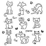 Cute hand drawn cats. Set vector illustration
