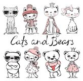 Cute hand drawn cats and bears Stock Images