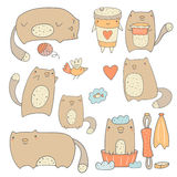 Cute hand drawn cats collection Stock Images