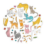 Cute hand drawn cats colorful set arranged in Stock Photo