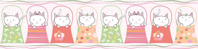 Cute hand drawn cats in handbags in pastel geometric seamless vector border With subtle polka dot background and vector illustration