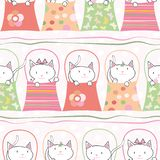 Cute hand drawn cats in handbags in pastel geometric seamless vector pattern. With subtle polka dot background and vector illustration