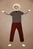 Cute hand drawn character in casual clothes Stock Images
