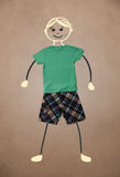 Cute hand drawn character in casual clothes Stock Photo