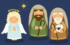 Cute hand drawn characters of Nativity scene Royalty Free Stock Image