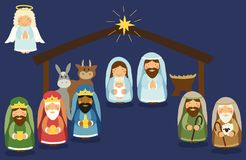 Cute hand drawn characters of Nativity scene Stock Photo