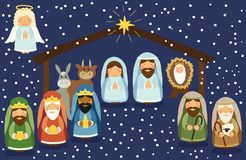 Cute hand drawn characters of Nativity scene Royalty Free Stock Photography