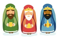 Cute hand drawn characters of Nativity scene Royalty Free Stock Photos