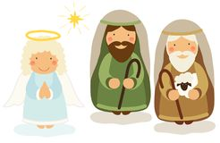 Cute hand drawn characters of Nativity scene Stock Photography