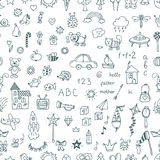 Cute hand drawn children drawings seamless pattern. Doodle child Royalty Free Stock Images