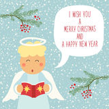 Cute hand drawn Christmas angel character with speech bubble and hand written text. For your decoration Stock Image