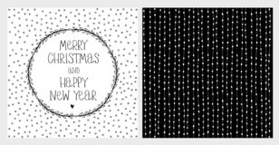 Cute Hand Drawn Christmas and New Years Eve Vector Card and Pattern. White Lines and Dots on a Black Background. Handwritten Merry Christmas and Happy New Year vector illustration